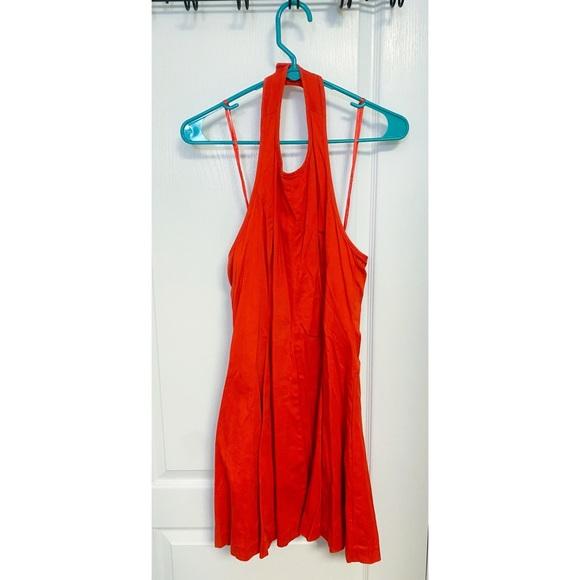 Jessica Simpson Orange Red Halter Skater Dress Sz4